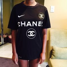 Nike/Chanel Tee. Tumblr famous tee, women's medium but fits like a small, has a boyfriend fit. *handwash this item* ❌ NO Trades❌ CHANEL Tops