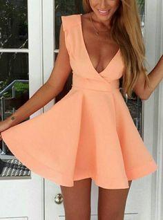 Pink Deep V Neck Sleeveless Mini Skater Dress