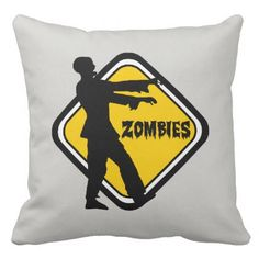 Caution Zombies Throw Pillow - halloween decor diy cyo personalize unique party