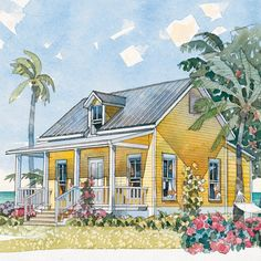 At 484 square feet, this sweet little cottage, with its charming gabled roof and gracious front porch, is ideal for an oceanfront retreat for two. The plan features a living room, kitchen with a peninsula and plenty counter space (plus a pantry), and a master bedroom with an en suite closet and bath.