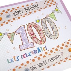 Handmade 100th Birthday Card Polka Dot Gold Shimmer Bunting Dotty Sparkling Crystals - 'One Whole Century!'