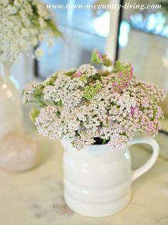 Summer Flowers in a White Ironstone Pitcher via Town and Country Living