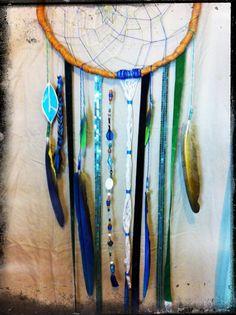 Parrot Feather Double Woven Dream Catcher