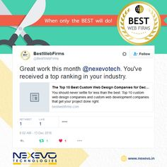 Awards keeps us going but our best quality of works will never be the less.  www.bestwebfirms.com/best-custom-web-design-companies  www.nexevo.in  #Nexevo | #Website #Design #Company #Bangalore