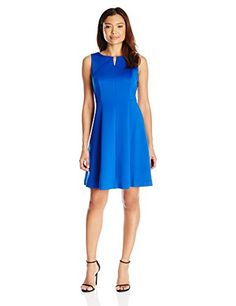 Ellen Tracy Womens Petite Sleeveless Fit and Flare Dress Cobalt 2 Petite -- Continue to the product at the image link.