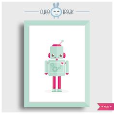 cutie robot #Arte  #Ilustracion  #Digital_Art  #Illustration  #Digital  #poster  #prints_illustrations  #wall_decor  #home_decor  #childrens_room #kids_poster  #monsters_friends  #robot  #colorful_monster