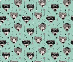 Cool woodland grizzly bears hipster indian arrows and super hero mask illustration for kids in mint fabric by Little Smilemakers Studio. Kids fashion home decoration and cool nursery accessories. For crafty mums and sewing lovers. Indian Animals, Bear Illustration, Nursery Accessories, Hipster, Forest Theme, Inspirational Wallpapers, Fabric Wallpaper, Baby Crafts, Woodland Animals