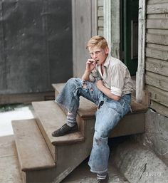 1938 in Baltimore - He did not pay extra for the holes in his jeans. That came from actually wearing them out.
