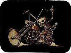 Biker skeleton Biker Tattoos, Motorcycle Tattoos, Motorcycle Art, Bike Art, David Mann Art, Grim Reaper Art, Badass Skulls, Bike Drawing, Harley Davidson Art