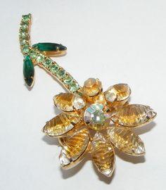 Vintage Art Glass Rhinestone Flower Pin Brooch Costume Jewelry Retro Long | eBay sold