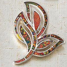 Mexican Fire Opal Leaves Brooch