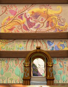 Disney Mural, Disney Art, Disney Movies, Disney Characters, Punk Disney Princesses, Disney Rapunzel, Playroom Mural, Wall Murals, Tangled Painting