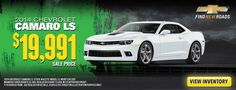 Car dealership sales banner for a Camaro LS