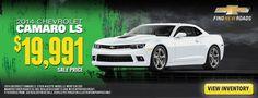 Car dealership sales banner for a Camaro LS