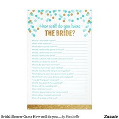 SALE 50% OFF   USE CODE: LOVEZGIFTS50   Bridal Shower Game How well do you know the bride?