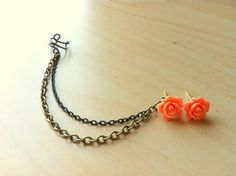 Coral color resin mini rose bud ear stud with bronze and black ear cuff chain earring