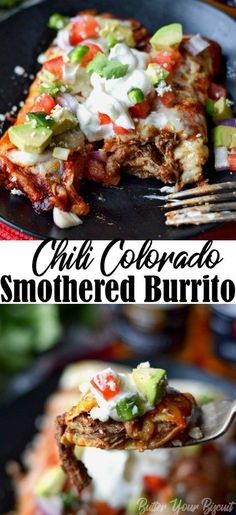 Chili Colorado Burritos are loaded with beans, tender beef, cheese and a delicious authentic sauce made from scratch. Pile on all your favorite toppings! Homemade Enchilada Sauce, Homemade Enchiladas, Colorado, Best Mexican Recipes, Ethnic Recipes, Favorite Recipes, Beef Recipes, Cooking Recipes, Burrito Recipes
