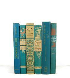 Aqua Turquoise  Vintage Decorative Books for by DecadesOfVintage, $30.00