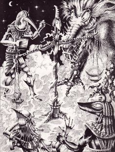 Old time religion. (Erol Otus, from AD&D Deities & Demigods, TSR, 1980. This is from a later printing without the Cthulhu and Melnibone mythoi. The picture is dated '81 so perhaps this art was added to the later printings to fill a blank page?) (Edit...
