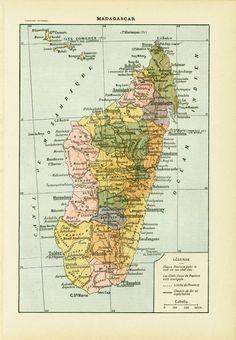 1930 Carte de Madagascar illustration Originale Larousse  encadrement scrapbooking collage decor mural vintage de la boutique sofrenchvintage sur Etsy