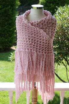 ON SALE Lace Shawl in Blush Pink for Spring and by ForYouDesign, $63.75