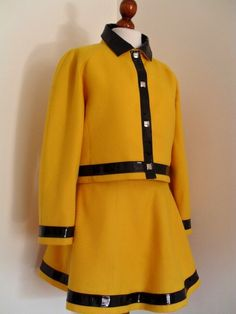 Canary COURREGES . Yellow Mod . Wool And Vinyl . Suit  Jacket & Skirt 1970s 70s Space Era. $579.00, via Etsy.