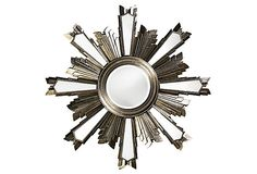 Jacob Round Mirror This Contemporary mirror features an Art Deco styled tiered starburst frame with a round glass. The piece has a tonal antique silver leaf finish with a striking black patina. Art Deco Bathroom, Art Deco Mirror, Unique Mirrors, Round Mirrors, Contemporary Mirrors, Floor Mirror, Wall Mirror, Starburst Mirror, Clock Decor