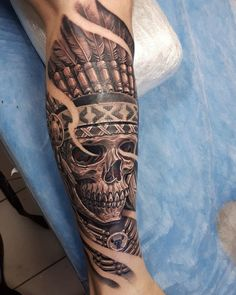 Tattoo Aleksey Baryshnikov - tattoo's photo In the style Black and grey, Male, Skulls, Inju Aztec Tattoos Sleeve, Chicano Tattoos Sleeve, Forarm Tattoos, Forearm Sleeve Tattoos, Cool Forearm Tattoos, Hand Tattoos For Guys, Best Sleeve Tattoos, Indian Headdress Tattoo, Indian Skull Tattoos
