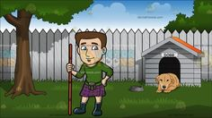 A Scottish Man Wearing A Classic Kilt At Backyard With Doghouse :  A man with brown hair and goatee wearing a green sweatshirt purple with black and orange plaid kilt brown pouch and dark teal boots smirks while holding a brownish orange long stick in his right hand. Set in a light brown dog lying down on the grass by its dog house. an empty dish sits near the dog. there is a white fence behind the dog house and a large tree in the yard.
