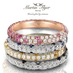 How do your wedding bands stack up? Infuse gorgeous color into your set w/ Martin Flyer wedding bands! ❤ . . #love #diamond #sparkle #wedding #weddingrings #preciousmetals #preciousgems #martinflyer #flyerfitbymartinflyer #ring #bride #sayido #shesaidyes #engagement