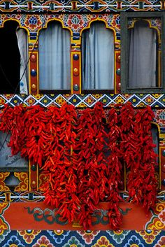 Ema (Chilies) drying in the sun in Bhutan.  The Bhutanese eat hot peppers as a vegetable, not a spice...the national dish of Bhutan is Ema Datshi, a hot chili pepper and cheese stew.