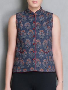Buy Indigo-Red Ajrakh Printed Cotton Sleeveless Jacket Online at Jaypore.com