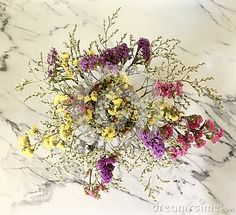 Some field flowers on marble background