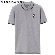 d1df94447 Giordano Men Polo Shirt Short Sleeves Ribbed Collar Polo Shirts Quality  Lion Embroidery 3D Style