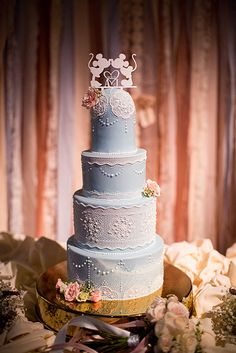 """Something blue"" wedding cake at Disney's Fairy Tale Weddings"
