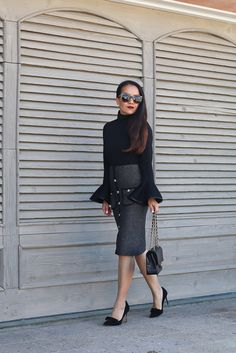 Bell sleeves top, Chanel medium caviar classic flap purse with gold hardware, Cheer Flare Sleeves Top, Studded Pockets Knitted Pencil Skirt, Chanel-esque skirt - click the photo for outfit details!