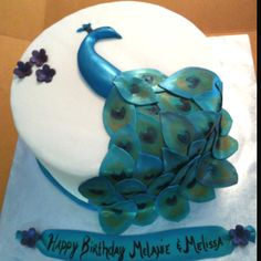 Happy Birthday to me!! And my twin, Melissa! Peacock cake!
