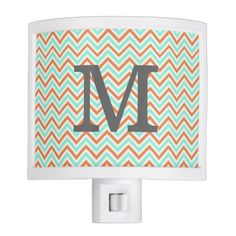 Personalized Turquoise & Orange Chevron Nightlight Nite Lites