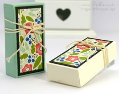 "Fold Over Box using Stampin' Up! Pretty Petals DSP. 4"" x 2"" x 1""."