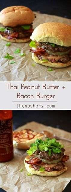 Thai Peanut Butter + Bacon Burger | If you have doubts about this freaking awesome burger just think pad thai or any Asian dish that uses peanuts and then add bacon. via@thenoshery http://thenoshery.com/thai-peanut-butter-bacon-burger/?utm_content=buffer7e179&utm_medium=social&utm_source=pinterest.com&utm_campaign=buffer#_a5y_p=3438224
