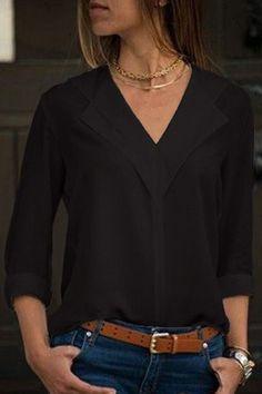 V Cuello Manga Larga Casual Blusa @ Womens Camisas Y Blusas,De La Mujer … – Mode für Frauen Blouse Col V, Collar Blouse, V Neck Blouse, Peasant Blouse, Outfits Con Camisa, Bluse Outfit, Black Blouse Outfit, Proper Attire, Moda Casual