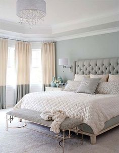 Master Bedroom With Pastel Color Grey Color Plus Bedroom Bench And Pendant Ligh Popular Bedroom Decorating With Pastel Color Ideas And Lighting Bedroom design Small Master Bedroom, Master Bedroom Design, Dream Bedroom, Home Decor Bedroom, Pretty Bedroom, Master Bedrooms, Summer Bedroom, Warm Bedroom, Grey Bedrooms
