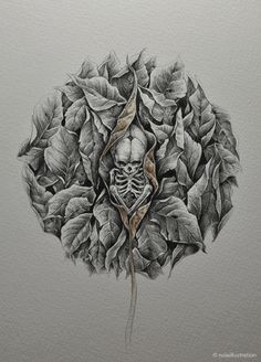 skulls and leaves by noiaillustration #skull #drawing #illustration #skeleton