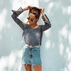 Gingham shirt with denim mini skirt and handkerchief belt. See more at www.HerStyledView...