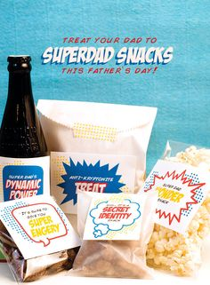 Download your free printables for Father's Day and make a cute SuperDad snack full of fabulously super treats for Dad!