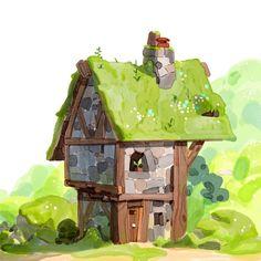 ArtStation - Some lil houses, Alexandre Diboine Environment Concept Art, Environment Design, Game Art, Bg Design, Cg Art, Animation Background, Environmental Art, Community Art, Watercolor Illustration