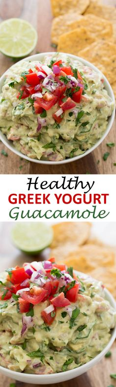 This Healthy Greek Yogurt Guacamole takes less than 10 minutes to make and is the perfect appetizer or snack. | chefsavvy.com #recipe #guacamole #healthy #Greek #yogurt #appetizer