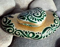Enchanted Emerald Island / 2 Painted Rocks / Sandi Pike Foundas / Cape Cod Sea Stones