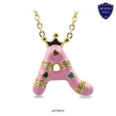 Kids' Gold-Plated & Enamel Crown Intial Necklace - Assorted Colors at Savings off Retail! Initial Pendant Necklace, Online Shopping Deals, 18k Gold, Initials, Plating, Fine Jewelry, Enamel, Personalized Items, Lifestyle