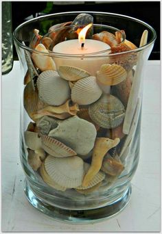 Crafts with shells - 42 inspiring ideas for creative Basteln mit Muscheln- 42 inspirierende Ideen für kreative Köpfe tinker with shells lanterns tinker candle - Seashell Art, Seashell Crafts, Beach Crafts, Home Crafts, Diy And Crafts, Crafts With Seashells, Seashell Decorations, Seashell Bathroom, Seashell Projects